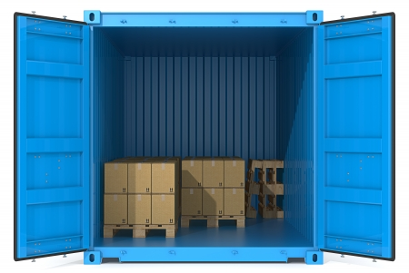 international shipping: Blue Cargo Container. Open Doors. Pallets and Boxes. Front view. Stock Photo