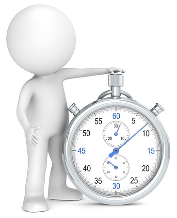 measurements: 3D little human character with a Stopwatch. Blue and Metal. People series.