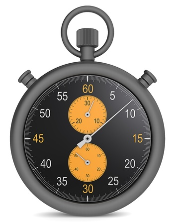 matte: Abstract Stopwatch in matte black metal and orange dials. Stock Photo