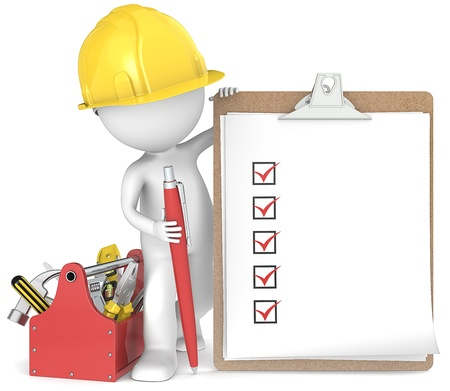 engineering clipboard: Quality  3D little human character the Builder holding a clipboard and pen  People series