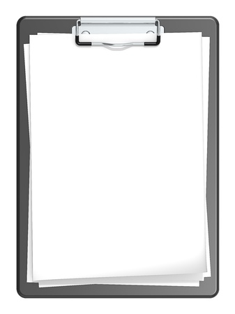 Isolated Clipboard with blank paper for Copy space  Black  photo