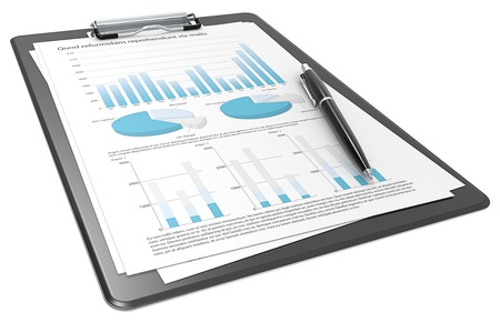 business report: Clipboard with Papers and Pen  Graphs and Pie charts  Blue theme  Stock Photo