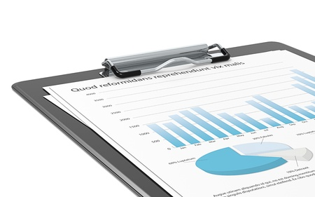 market trends: Close up of a Clipboard holding Papers with Graphs and Pie charts   Stock Photo