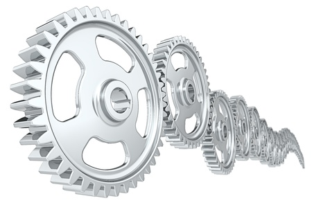 Abstract cog wheels  White background  photo