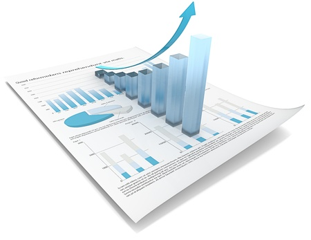 future earnings: Abstract financial document with 3d graph of frosted glass