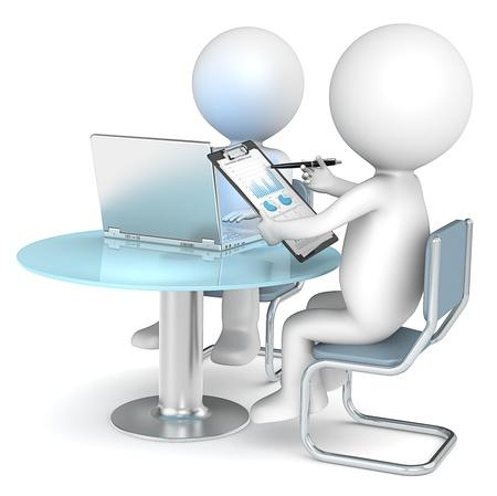 schreiben: Business Review 3D kleine menschliche Figuren X2 Blick auf ein Bericht Pie Charts und Diagramme Business People-Serie
