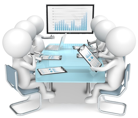 management meeting: 3D little human characters X6 during business review  Big screen  Business People series   Stock Photo