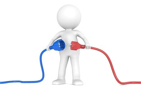conectores: 3D peque�o personaje humano sosteniendo cable azul y rojo de energ�a masculina y femenina enchufe People serie Foto de archivo