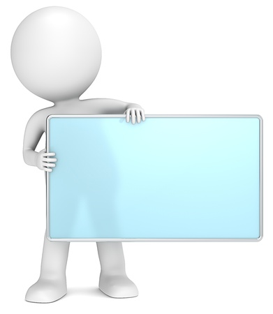 notice: 3D little human character The Messenger holding an empty Board  Frosted glass and chrome  People series  Stock Photo