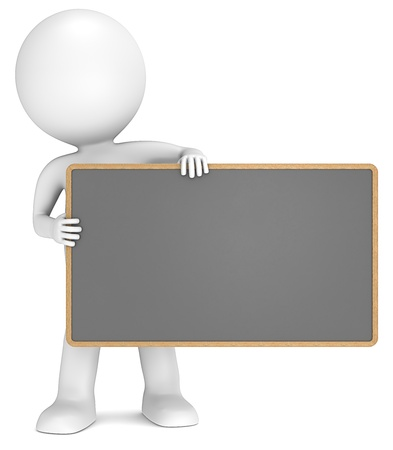 3D little human character The Messenger holding an empty Black Board. People series. Stock Photo - 15362001