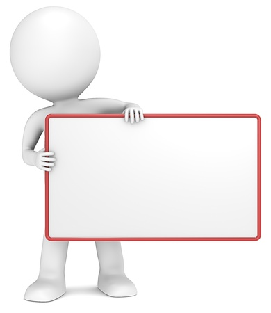 3D little human character The Messenger holding an empty Board. Copy Space. People series. Stock Photo - 15361999