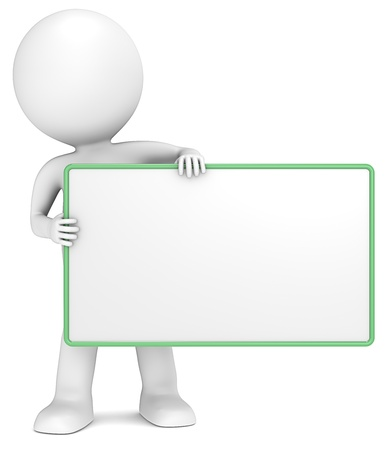 character: 3D little human character The Messenger holding an empty Board. Green Frame. Copy Space. People series. Stock Photo
