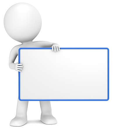character: 3D little human character The Messenger holding an empty Board. Blue Frame. Copy Space. Stock Photo