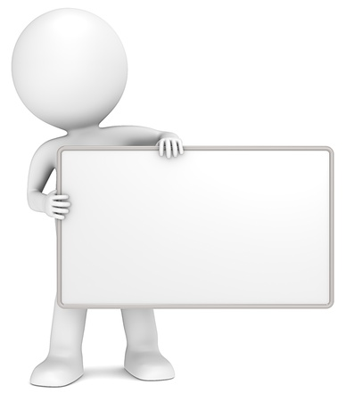 placards: 3D little human character The Messenger holding an empty Board. Copy Space. Stock Photo