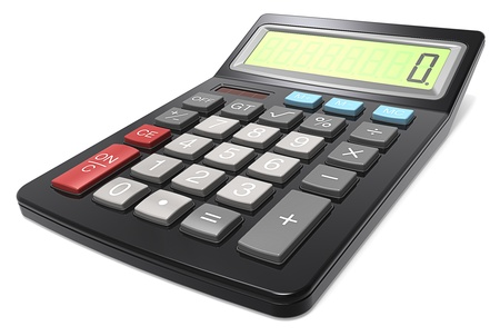 Classic Black Calculator on white background  photo