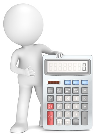 3D little human character with a Calculator