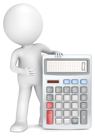 calculadora: 3D peque�o personaje humano con una calculadora
