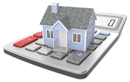 Small blue house on a calculator
