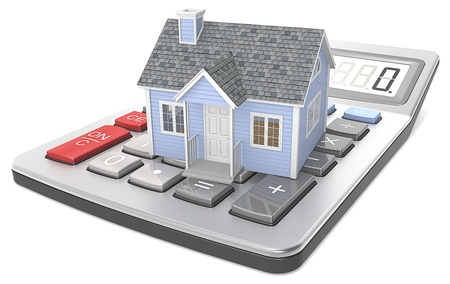 mortgage rates: Small blue house on a calculator