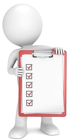 portapapeles: Consultar la lista del 3D peque�o personaje humano sosteniendo un portapapeles con una serie de verificaci�n lista de personas Red Foto de archivo