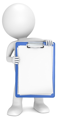 3D little human character holding a blue clipboard  Blank paper for copy space  People series  Stock Photo - 15577325