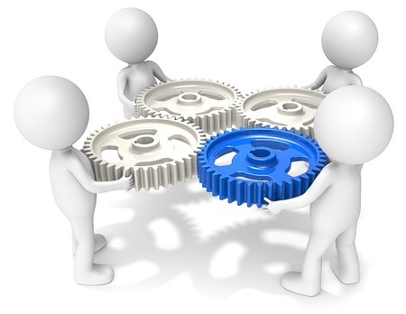 project management: 3D little human character X4 holding Cog Wheels. One Blue. People series.