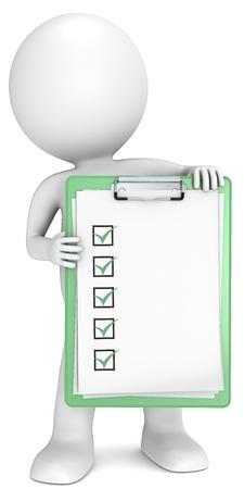 human character: 3D poco carattere umano in possesso di un appunti con lista di controllo verde serie Persone