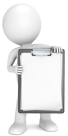 3D little human character holding a clipboard  Blank paper for copy space  People series  Stock Photo