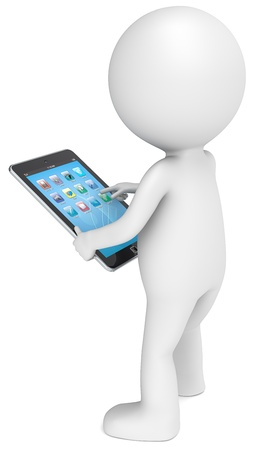 backview: 3D little human character with a Tablet Computer  Blue screen with icons  People series