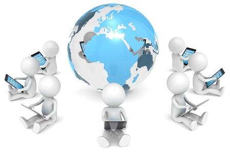 red informatica: Red 3D Social de estar poco X9 car�cter humano, con computadoras tablet, en un c�rculo alrededor del globo de la serie Core Transparente