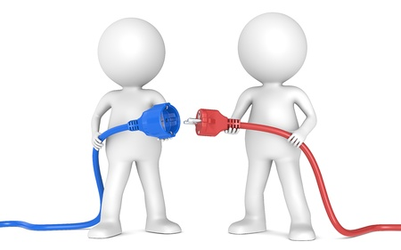 disconnected: 3D little human character X2 holding blue and red Power Cable  Male and Female plug  Front view People series  Stock Photo