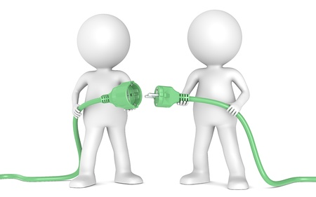 3D little human character X2 holding green Power Cable. Male and Female plug. People series. Stock Photo
