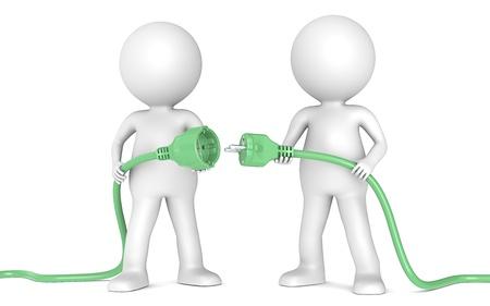sustentabilidad: 3D poco carácter humano X2 celebración verde del cable de alimentación. Masculino y Femenino enchufe. La gente de la serie.