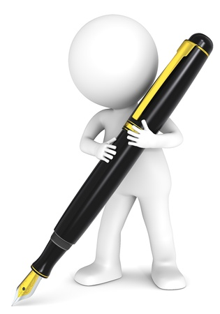 autograph: 3D little human character holding a Fountain Pen. Black and Gold. People series.