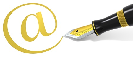 write us: Golden At symbol and Black Fountain Pen.