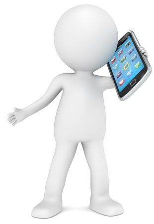 hablando por telefono: 3D car�cter humano que sostiene un tel�fono inteligente. Iconos de la aplicaci�n. La gente de la serie.