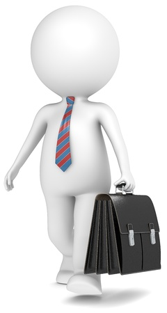 business briefcase: 3D little human character the Business Man walking with briefcase. People series. Stock Photo