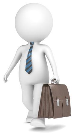 petit bonhomme: 3D petit personnage humain de l'homme d'affaires marchant avec Serviette en cuir Marron Bleu et noir cravate rayée série populaire Banque d'images