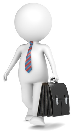 little business man: 3D little human character the Business Man walking with briefcase  People series