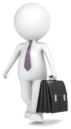 corbata negra: 3D poco car�cter humano del hombre de negocios con malet�n caminando serie People Foto de archivo