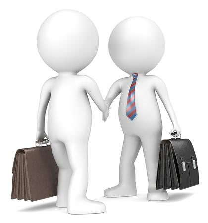 n�gocier: 3D petit personnage humain de l'homme d'affaires se serrant la main X2 bleu et rouge cravate ray�e gens s�ries Banque d'images