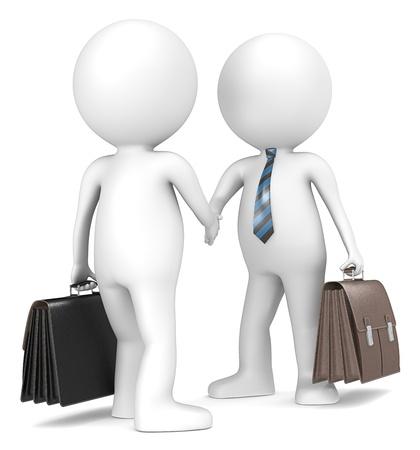 n�gocier: 3D petit personnage humain de l'homme d'affaires se serrant la main X2 bleu et noir cravate ray�e s�rie populaire Banque d'images