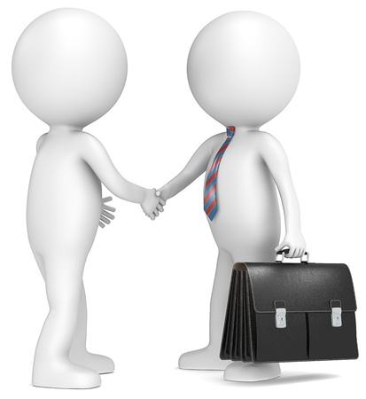 3D little human character shaking hand with Businessman  Black Briefcase  Red and blue tie People series  photo