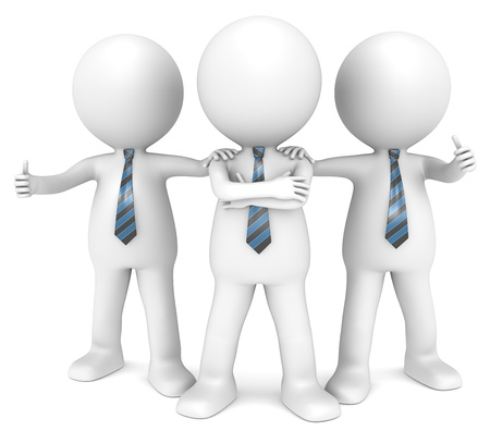 executive team: 3D little human character the Business Man x3 in a Confident pose  People series