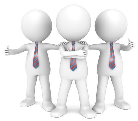 hombre: 3D poco car�cter humano el hombre de negocios x3 en una actitud confidente Lazo rojo y azul serie People