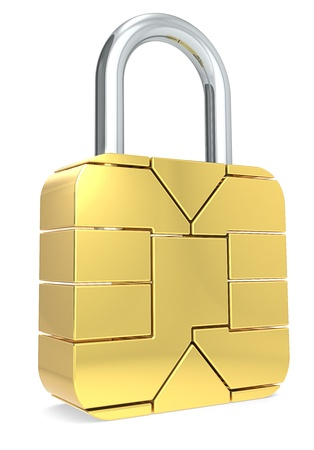 Sim Card made like a Padlock. Locked. Stock Photo - 16441785