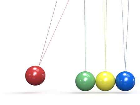 Newtons Cradle in 4 colors. Stock Photo - 16441760
