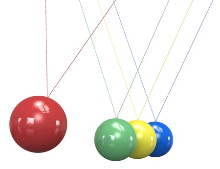 Newtons Cradle in 4 colors. Isolated. photo