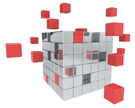 block: Abstract cube assembly. Metal and Red.