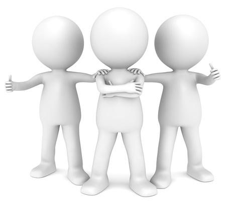 3D weinig menselijk karakter x3 in een zelfverzekerde houding. Mensen serie. Stockfoto